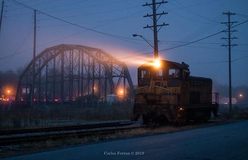 conemaugh black lick railroad rail road train trains switcher emd sw7 bethlehem steel morning low light sunrise bridge johnstown pa pennsylvania local urban