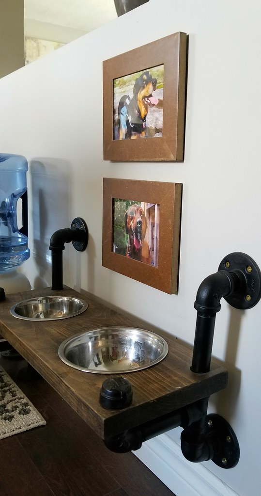 plumbing pipe dog feeders gallery wall