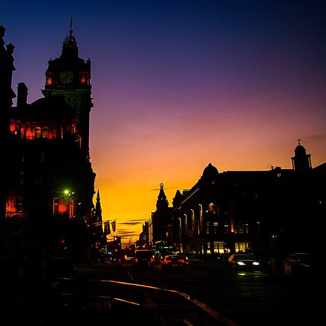 Sunset On Princes Street Edinburgh