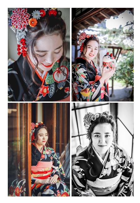 成人式前撮り 20歳の記念写真 黒の着物に赤い帯と髪飾り