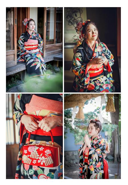 成人式前撮り 黒の着物と赤いかばん 神社で手を合わせるシーン
