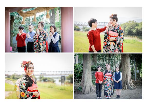 成人式前撮り 神社へお詣り 河川敷で家族と一緒に
