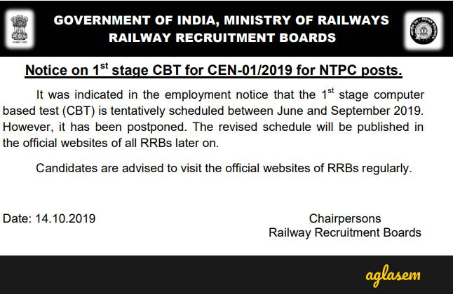 RRB NTPC CBT 1 Exam Date 2019 Postponed Notification Released, Revised Schedule Will Be Out Soon