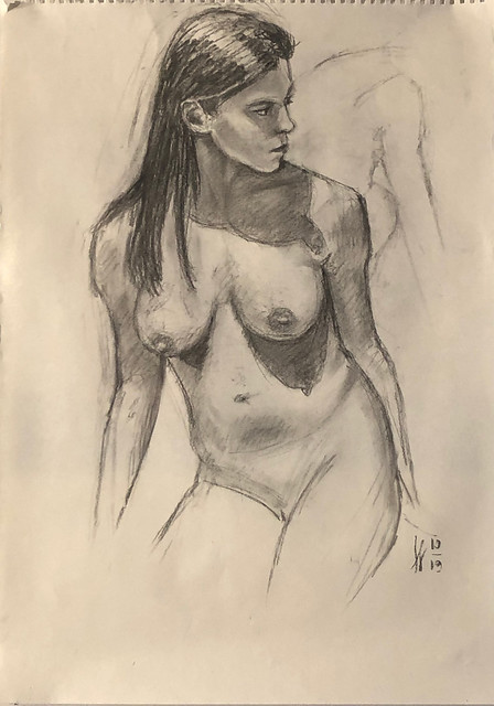 Laura looking right, 30 min charcoal sketch