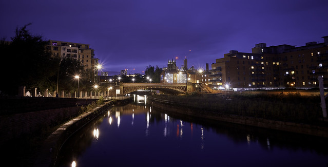 River Aire night view