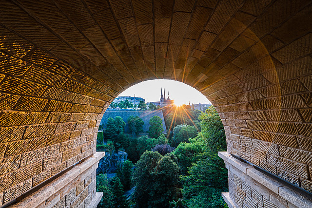 Early morning at Adolphe Bridge, Luxembourg