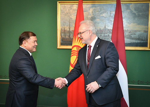 15.10.2019. Valsts prezidenta Egila Levita tikšanās ar V. E. Kirgizstānas Republikas parlamenta priekšsēdētāju Dastanbeku Džumabekovu (H. E. Mr Dastanbek Dzhumabekov)