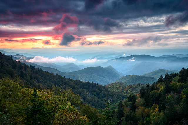 Great Smoky Mountains Sunset Landscape Cherokee North Carolina