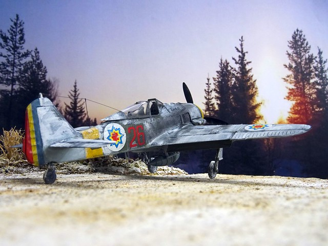 "1:72 Focke Wulf Fw 190 A-6/R1 trop.; ""26 Red"" of the 1st Fighter Squadron, Royal Moldovan Air Force (Королівська авіація Молдови); Krywyj Rih (Кривий Ріг), Oblast Dnipropetrowsk region, Ukraine, February 1943 (Whif/Academy kit)"