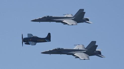 USN F/A - 18 Hornet x2, Grumman F8F Bearcat in BLUE ANGELS  Paint, 2019 Huntington Beach Ca Airshow