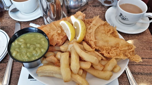 Plaice, Chips & Mushy Peas. The Magpie. Whitby.