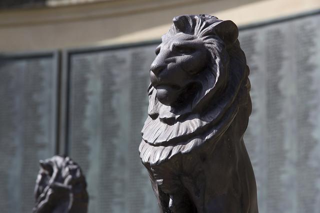 Alfred Stevens lion, War Memorial, Queen's Parade Place, Bath, Somerset, UK