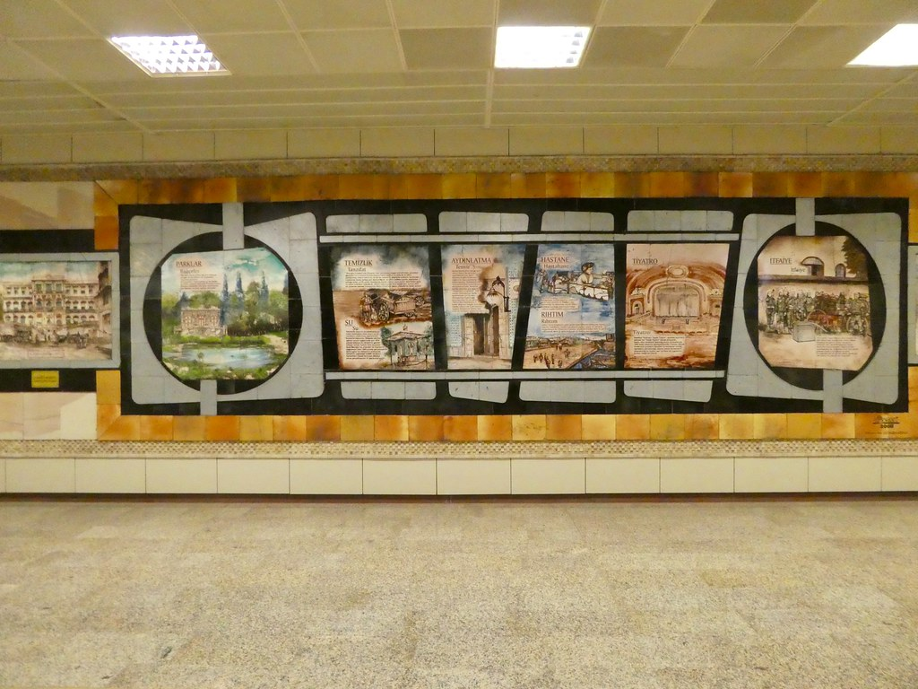 Art work adorning the walls of the Istanbul Metro