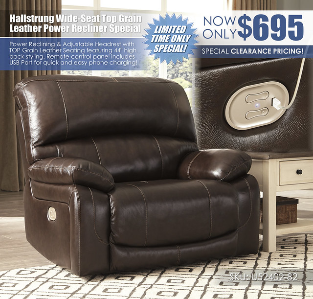 Hallstrung Wide Seat Power Leather Recliner Special_U52402-82