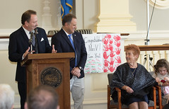 Rep. D'Amelio honors Waterbury Italian Mayor for the Day Maria Vigliotti during a ceremony in city hall.