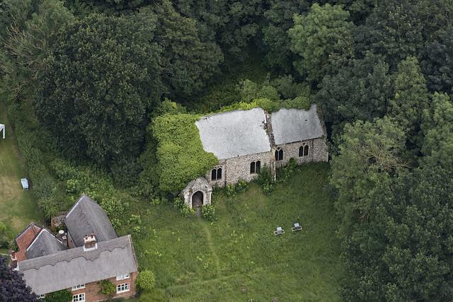 Aerial image of St Peters Church in Burlingham - Norfolk