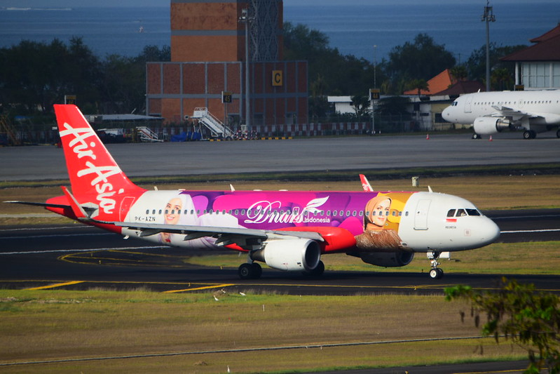 PK-AZN A320 Air Asia Indonesian at Denpasar Bali October 2019