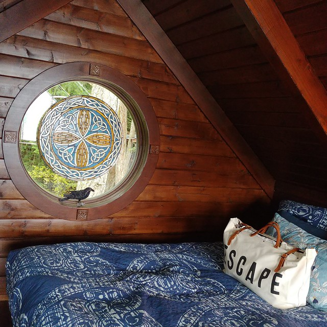 #treehouse #loft #stainedglass #portholewindow #crow #👜
