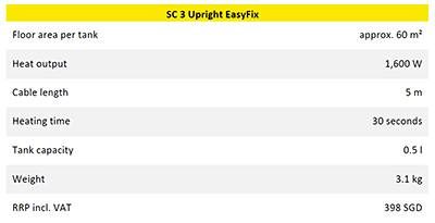 Key tech specs for the Karcher SC 3 Upright EasyFix Steam Mop.