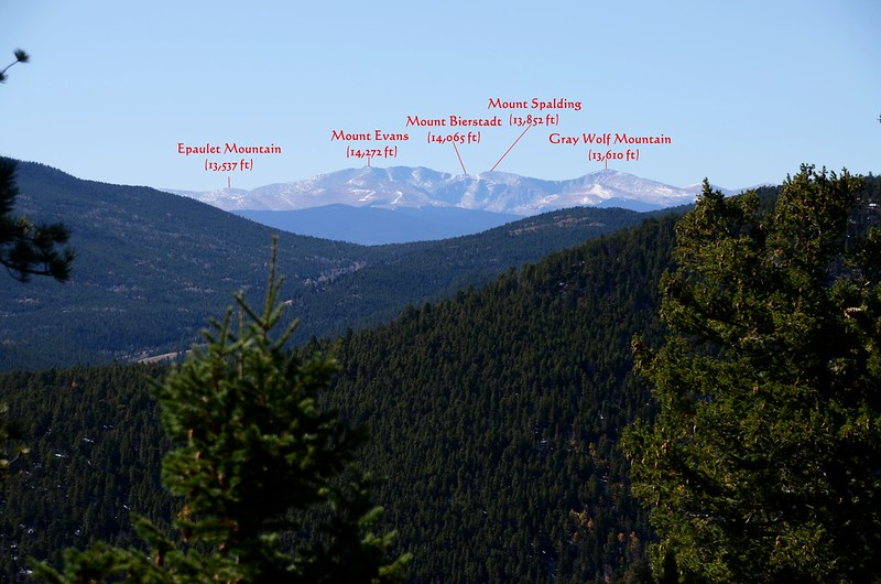 Looking southwest at Mount Evans & Bierstadt from Mountain Lion Trail (4)