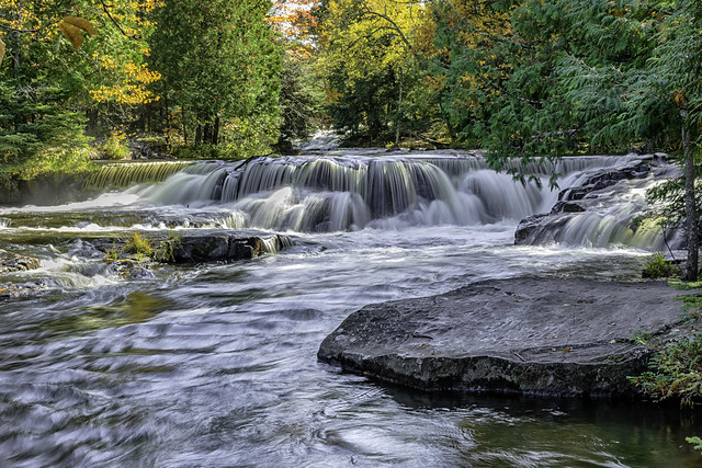 Waterfall drops above the famous Bond Falls on the Ontonagon River in Michigan's U.P.