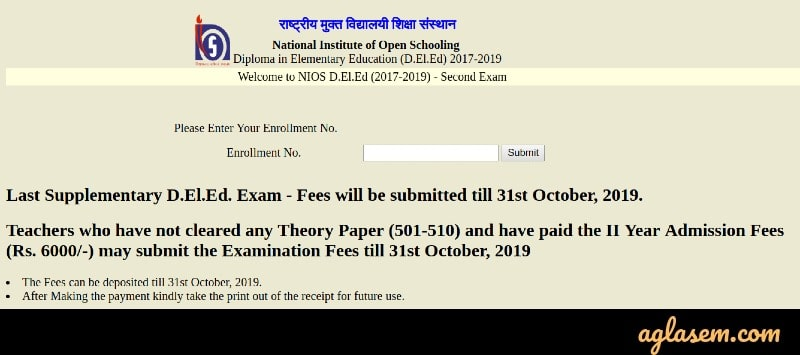 NIOS DElEd Exam Fee Submission