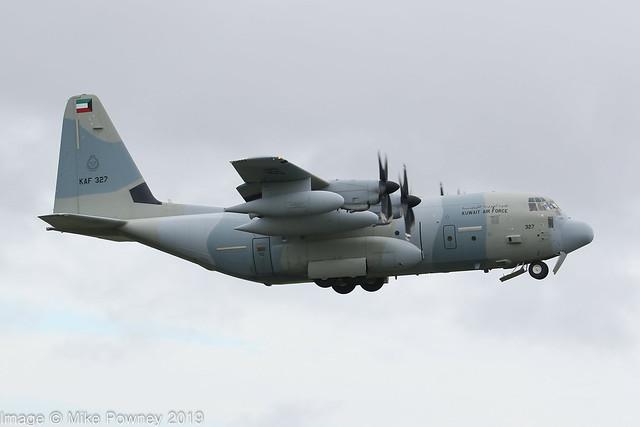 KAF327 - 2014 build Lockheed KC-130J Hercules, climbing on departure from Runway 12 at Prestwick