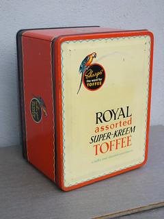 Vintage 1950's Sharps Royal Assorted Super Kreem Toffee Advertising Tin
