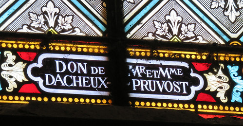 On the road to Rouen we passed an old Church - the stained-glass windows were new and had been donated by locals who had their names added to them