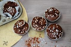 Muffins de chocolate con malta y espelta