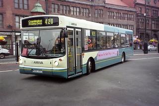 4521 Arriva Northumbria W297PPT Volvo B10BLE Wright Renown. Haymarket Bus Station Newcastle Aug00