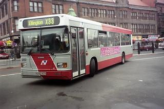 282 Arriva Northumbria N282NCN Scania L113CRL East Lancs European. Haymarket Bus Station Newcastle Aug00