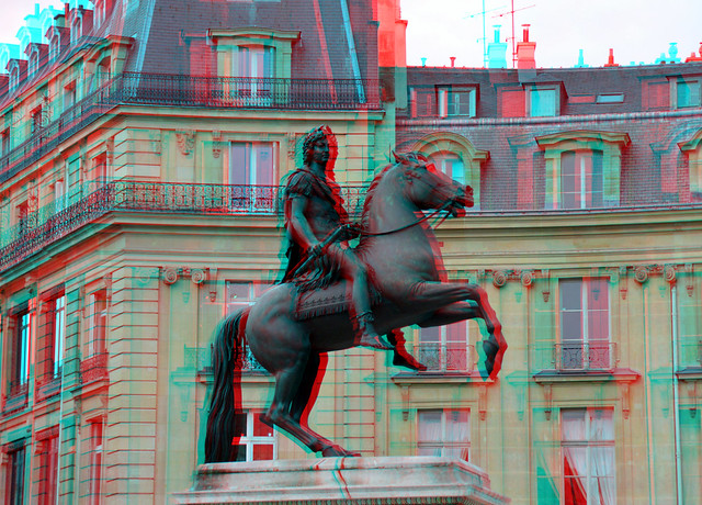 View of the Place des Victoires with statue of Louis XIV.  Paris 3D