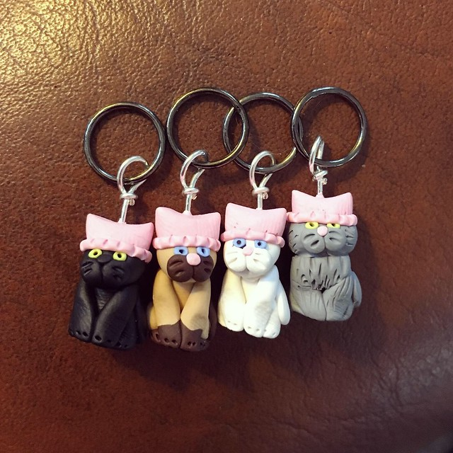 Pussy Cats in Pussy Hats stitch markers