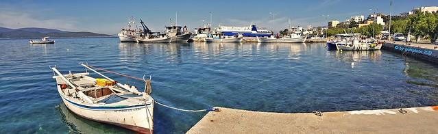 Panorama Insel Euböa/Evia - Marmari ... Hafen/Port