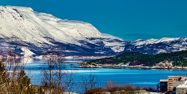 Ofotfjord and mountain across the fjord from Narvik Train Station, Norway– 20a