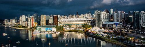 2019 bc britishcolumbia canada cropped nikon nikond750 nikonfx tedmcgrath tedsphotos vignetting wideangle widescreen falsecreekeast falsecreek eastfalsecreek boats water bcplace bcplacestadium vancouverbc vancouvercity cityofvancouver rogersarena reflection waterreflection cirquedusoleil tents cityview buildings highrise grandchapiteauatconcordpacificplace grandchapiteau cirquedusoleilgrandchapiteau cirquedusoleilluziaatgrandchapiteauatconcordpacificplace cirquedusoleilvancouver vancouvercirquedusoleil threateningsky darksky stadium arena cans2s sunrise