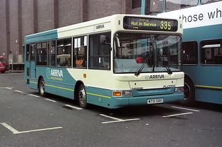 1750 Arriva Northumbria W751SBR  Dennis Dart SLF Plaxton Pointer MPD. Eldon Square Newcastle Aug00