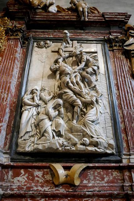 La Déposition, autel baroque des reliques 1711, sacristie, basilique Santa Maria Gloriosa dei Frari, campo dei Frari, sestiere de San Polo, Venise, Vénétie, Italie.
