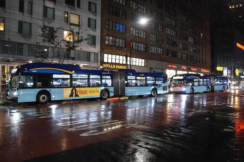14th Street Manhattan dedicated transitway, at night