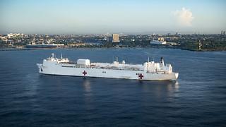 USNS Comfort (T-AH 20) is anchored off the coast of Santo Domingo, Dominican Republic.