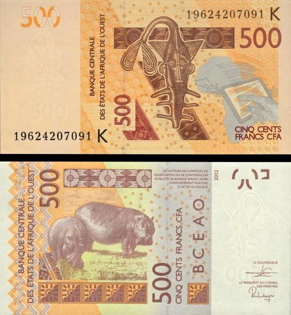 500 Frankov Senegal (Západoafr. štáty) 2012(19), P719Kh