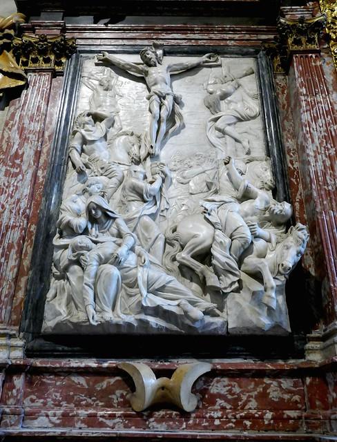 La Crucifixion, autel baroque des reliques 1711, sacristie, basilique Santa Maria Gloriosa dei Frari, campo dei Frari, sestiere de San Polo, Venise, Vénétie, Italie.