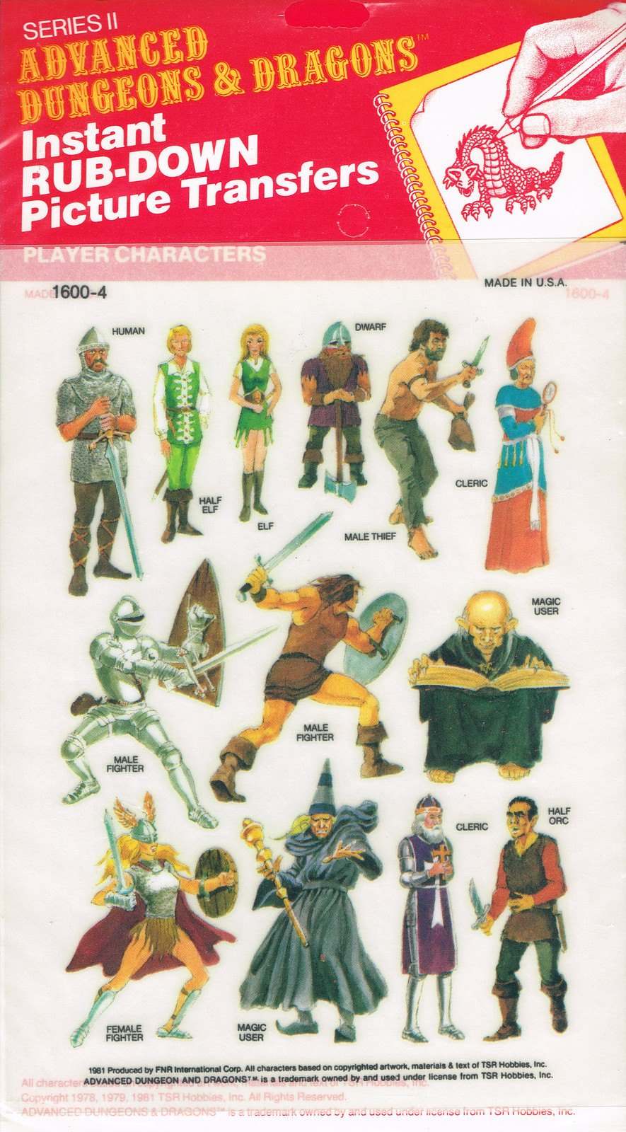 Advanced Dungeons and Dragons Picture Transfers (Player Characters)  Series 2 - 02, 1981