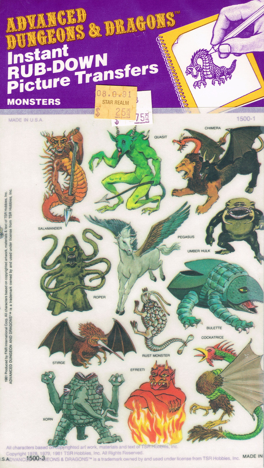 Advanced Dungeons and Dragons Picture Transfers (Monsters) Series 1 - 04, 1981