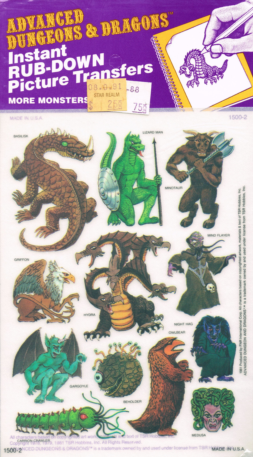 Advanced Dungeons and Dragons Picture Transfers (Humanoids and Undead) Series 1 - 01, 1981