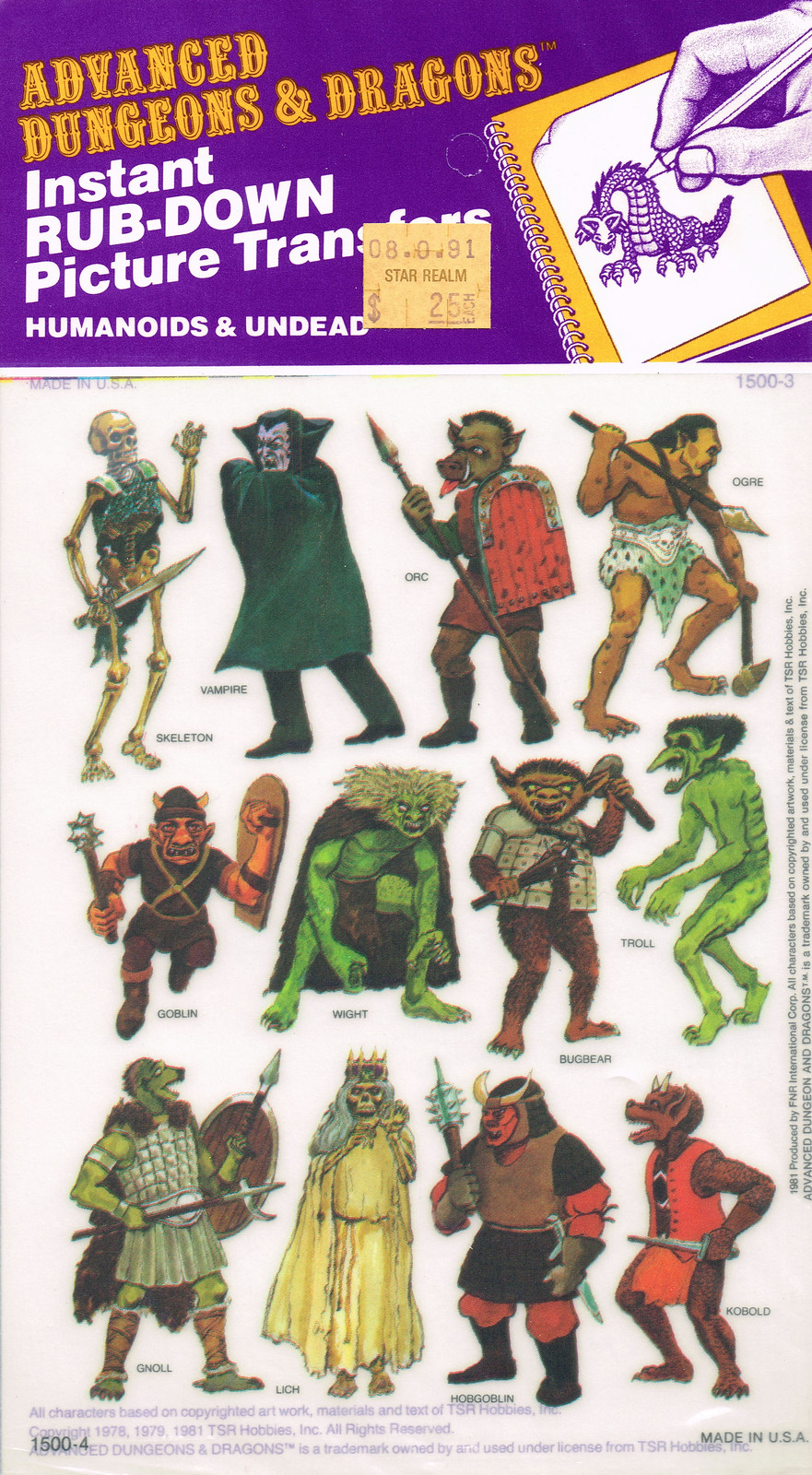 Advanced Dungeons and Dragons Picture Transfers (Humanoids and Undead)  Series 1 - 02, 1981