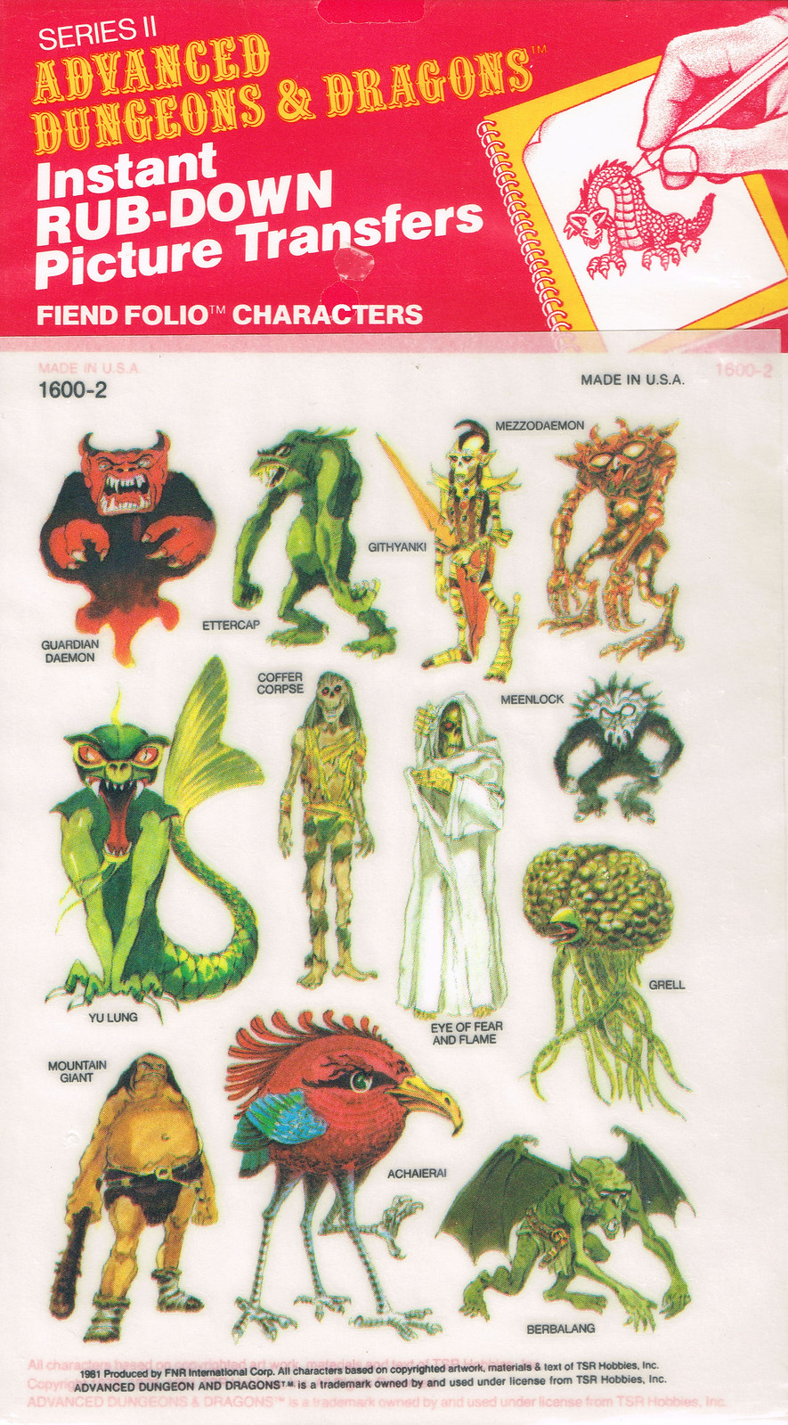 Advanced Dungeons and Dragons Picture Transfers (Fiend Folio Characters)  Series 2 - 03, 1981