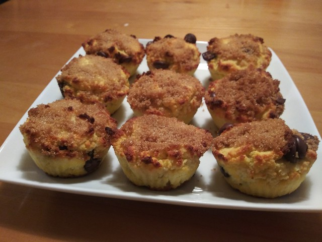 Chocolate chip muffins sprinkled with brown sugar (from scratch)—the second batch came out better