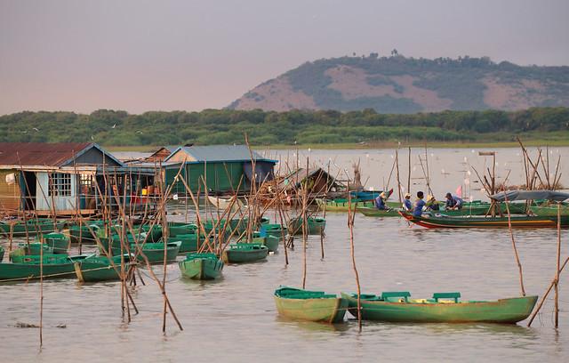 Green Boats Of Tonlé Sap